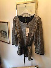 New Darling Celeste Gold Sequin & Black Velvet Blouse Top,ribbon Belt,Large