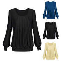 Women Office Puff Long Sleeve Pleated Top Swing Casual Loose Tunic Blouse Shirt