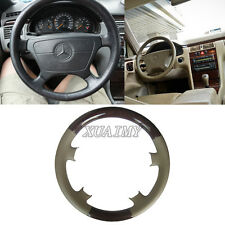 Tan Leather Wood Steering Wheel Cover 95-99 Mercedes Benz W210 E-Class W202 C202