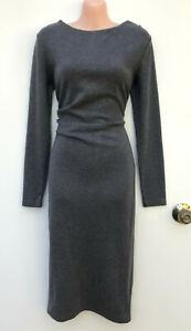 SEED Heritage Long Sleeve Stretch Grey Jersey Pencil Dress Side Waist Pleat S