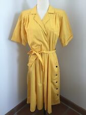 Vintage 80s Yellow Shoulder Pads Circle Skirt Midi Long Dress Size ML