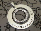 Personalised Hand Stamped Family Names Swar.. Crystal S/steel Pendant/Necklace