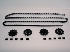 MICRO KNEX LOT 4 Sprocket Gears, 6 Ft. Chain, 10 Chain Guides/Clips Black Pieces
