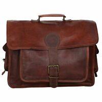 Genuine Vintage Handmade Brown Leather Messenger Bag Laptop Bag For Men & Women