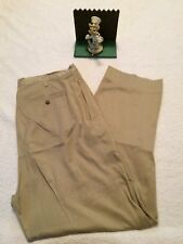 Tommy Bahama Relax Silk Pants Size 36X32 Tan Beige Pleated Front MINIMAL WEAR