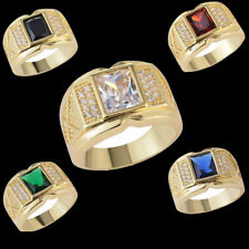 Fashion Jewelry Men's 18k Yellow Gold Plated Copper Zircon Wedding Ring Size8-15