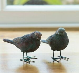 2 BRONZE METAL EFFECT RESIN BIRD GARDEN ORNAMENTS HAND-FINISHED WITH GIFT BOX