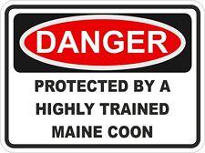 Cat MAINE COON Breed Danger Sticker Pet for Bumper Locker Car Door