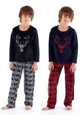 Boys Fleece Pyamasj Kids Childrens Warm Stag Pjs Black or Navy Winter