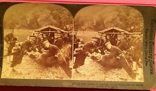 a Stereoview Jolly Japanese Soildiers Boys Getting In A Wood Boat On Yalu River