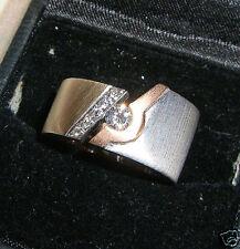 Pair Modern Art 18K Gold Band Diamond Rings Sz 6.5& 7.5