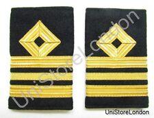 Épaulette Marine Marchande Bleu Marine Marquage Rang Pour Lt Commandant R929