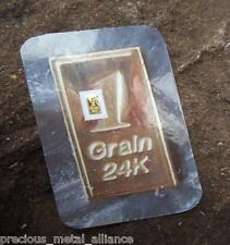 1 GRAIN GR 24K PURE 999.9 FINE GOLD BULLION  PROFESSIONALLY MINTED  BAR BIN35