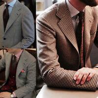 Houndstooth Men Suits Coats Business Blazer Tuxedos Notch Lapel Tailored Custom