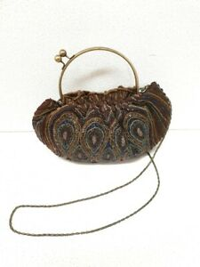 (GRA) 1920,s style beaded, peacock patterned evening bag with chain strap.