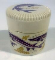 W.G. White London Stoneware Caviar Jar Pot with Sturgeon British Pottery