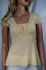 NWT ANTHROPOLOGIE SWEET PEA BY Stacy Frati Mesh & Lace Baby Doll Top Ivory Small