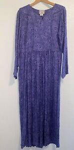 Vintage 90s April Cornell Purple Floral Long Sleeve Maxi Dress Medium NWOT
