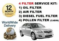 FOR TOYOTA AVENSIS 2.0DT DIESEL 2003-2005 OIL AIR FUEL POLLEN FILTER SERVICE KIT