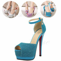 Women Ankle Strap Peep Toe Platform Shoe Buckle Pump High Heel Prom Club Sandals
