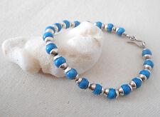 Bracelet signed on hook 125514 Southwest 850 Silver Blue Bead