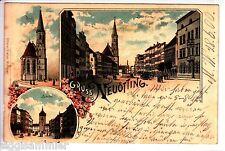 Gruss aus Neuötting AK 1900 Mehrbild Litho Stadtplatz Stadttor Bayern 1505479*