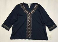 Alfred Dunner Womens News Flash Blouse Blue 3/4 Sleeve Embroidered Plus 2X New