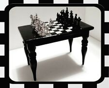 MID-CENTURY MODERN DOLLHOUSE MINIATURES BLACK WOOD CHESS TABLE+GAME PIECES $149
