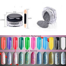 Rainbow 2g Holographic Laser Powder Nail Art Chrome Pigments Dazzling Makeup UK