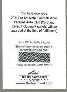 Micah Parsons 2021 Leaf PRO SET REDEMPTION Auto Autograph Rookie R/C--1/1?