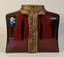 Lg Ceramic Plant Pot/Vase Decorative Asian Art Piece-Nehru Jacket Dark Red & Tan