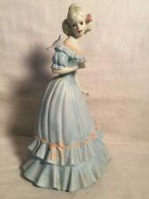 "Vintage 10"" NARCO Porcelain Victorian woman Bird STATUE Figurine blue dress"