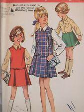 Sassy VTG 69 SIMPLICITY 8311 Girls Jumper Blouse & Skirt PATTERN 12 UC