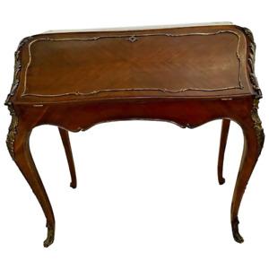 Antique French Bureau Desk 19th Century Extensive Ormolu inlays Original Patina