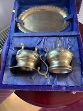 Vintage Brass Salts And Tray