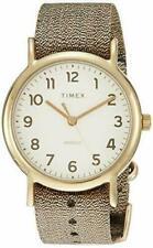 Timex TW2R92300, Weekender Metallic Gold Fabric Watch, Indiglo, 38MM Case