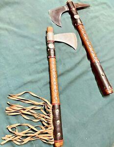 Buffalo Nickel Throwing Tomahawk Pair, New Frost Blades w/ Custom 17' Handles