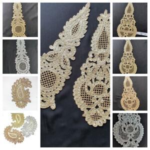 1 Flower Silver Gold Lace Embroidery Bridal Applique Rhinestone Crystal Wedding