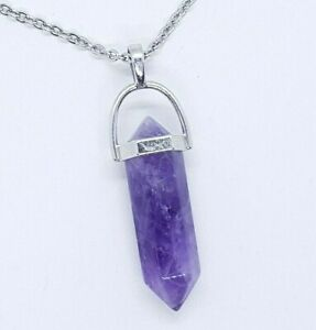 Amethyst Necklace Quartz Pendant Crystal Gemstone Healing Stone High Quality UK