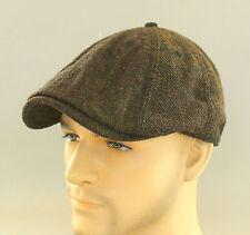 New Auth Ben Sherman Driver Herringbone Wool Duckbill Hat Newsboy Beret Cap Brn