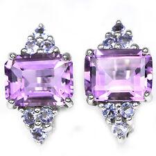 Sterling Silver 925 Genuine Purple Amethyst & BlueViolet Tanzanite Stud Earrings