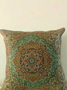 Brown Beige Green Paisley Floral Cotton Moroccan Gypsy Bohemian Cushion Cover 18