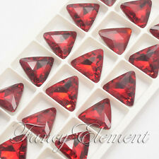 18pcs Glass Triangle 4727 18x18mm Siam Red Crystal Sew On Rhinestones Beads Gem