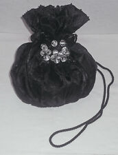 DESIGNER MARY FRANCES BLACK DRAWSTRING EVENING PURSE / HANDBAG W/ BEADS MINT