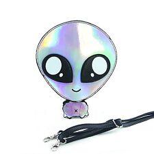 Sleepyville Critters - Green Baby Alien Shoulder Crossbody Bag Silver