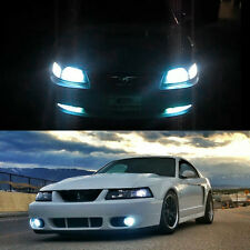 4pcs 97-04 Mustang White LED High Low Beam Headlight + Switchback Signal Bulbs