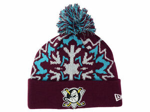 Official 2015 NHL Anaheim Ducks New Era Glowflake Knit Beanie Hat