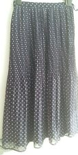Long Tall Sally Navy Blue Red White Pleated Smart Work Maxi Skirt Size 12