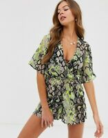 Influence Beach Playsuit Size 8 In Neon Snake Print New Beach Cover Up EP42
