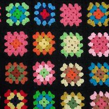 Vintage Granny Square Crochet Afghan Throw Handmade 32x58 Flower Fringe Retro
